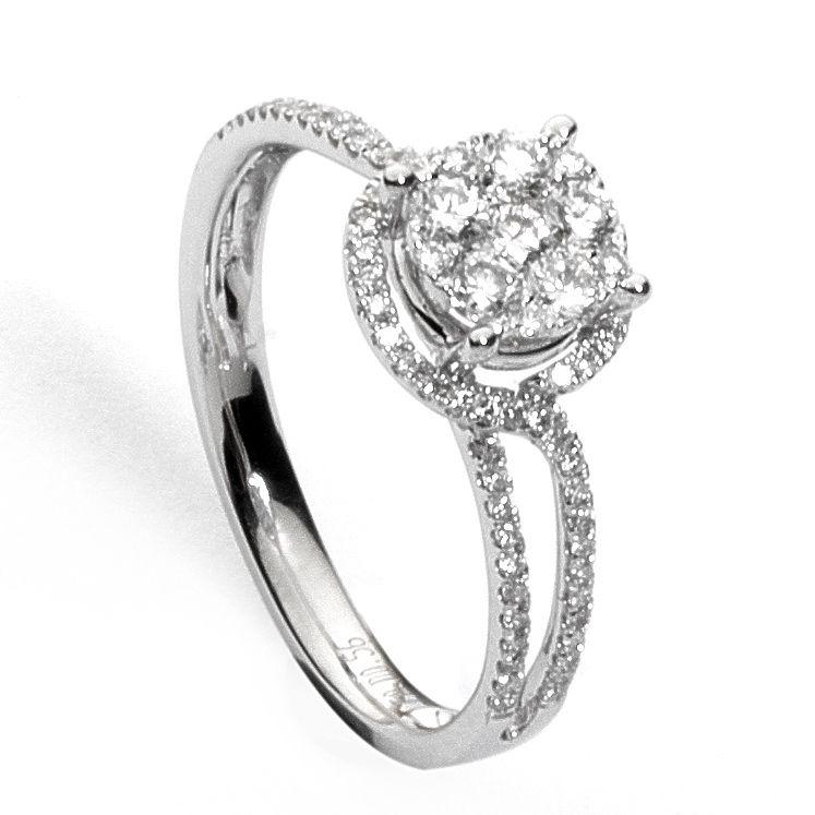 nuovo stile f6c7a f148e Anello pavé tipo solitario oro bianco e diamanti