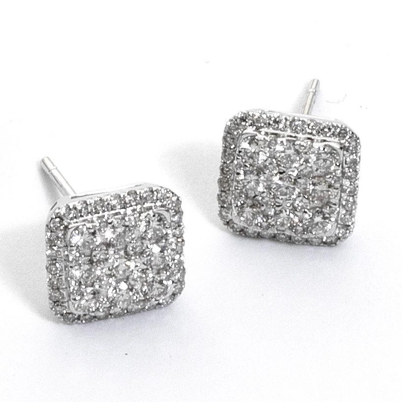reputazione affidabile lusso Scarpe 2018 Orecchini pavè di diamanti quadrato