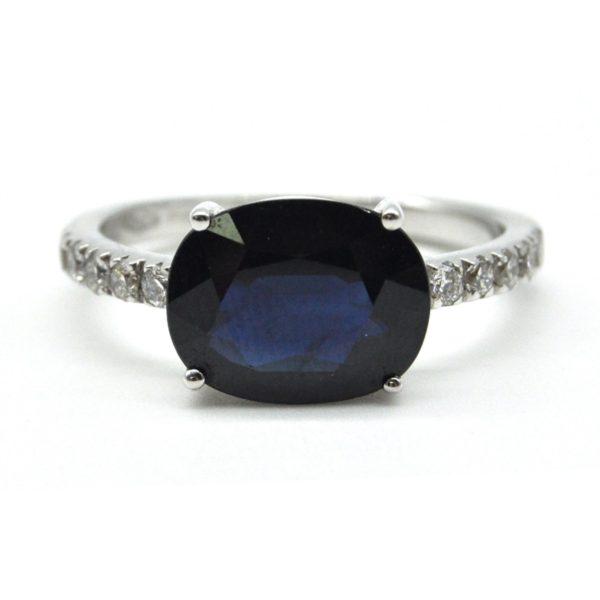 anello oro bianco zaffiro e diamanti
